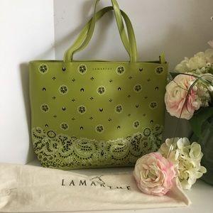 LAMARTHE Bags - 🌸LAMARTHE PARIS LIME GREEN LEATHER TOTE EUC!🌸